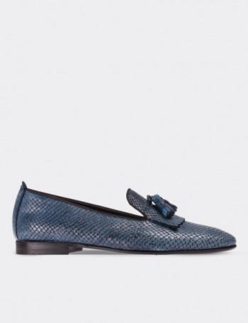 Hakiki Deri Kroko Desen Lacivert Püsküllü Kadın Ayakkabı