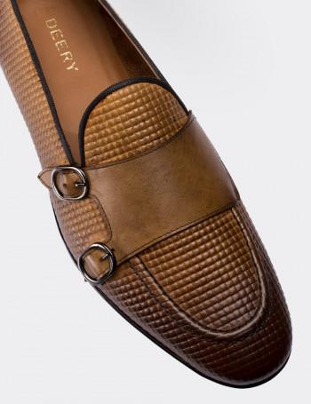 Hakiki Deri Taba Rengi Kroko Erkek Loafer