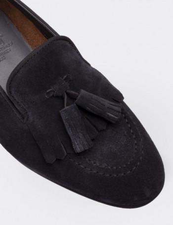 Hakiki Süet Lacivert Püsküllü Kadın Ayakkabı
