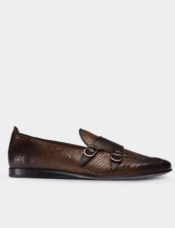 Hakiki Deri Kroko Kahverengi Çift Tokalı Erkek Loafer