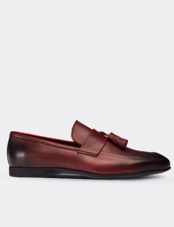 Hakiki Deri Bordo Erkek Loafer
