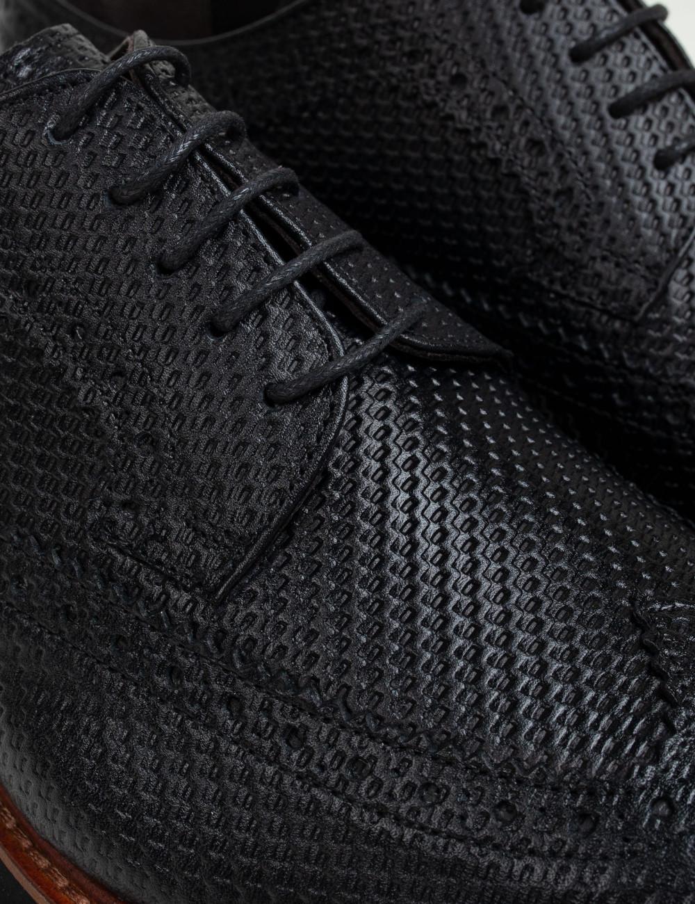 Hakiki Deri Örgü Baskı Siyah Günlük Erkek Ayakkabı - 01293MSYHE03