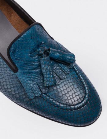Hakiki Deri Kroko Desen Mavi Püsküllü Kadın Ayakkabı