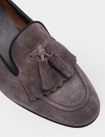 Hakiki Süet Açık Kahve Püsküllü Kadın Ayakkabı