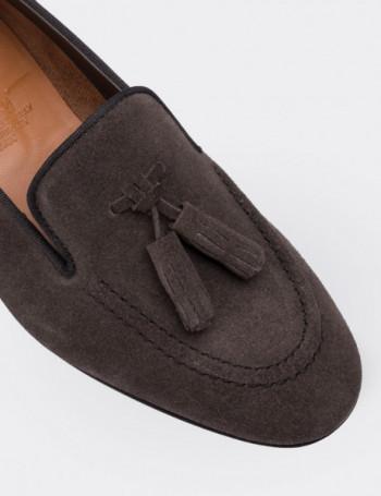 Hakiki Süet Kahverengi Püsküllü Kadın Ayakkabı