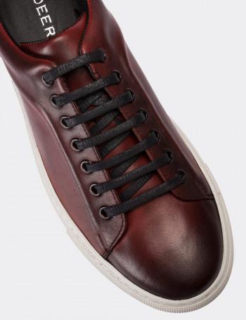 Hakiki Deri Bordo Sneaker Erkek Ayakkabı