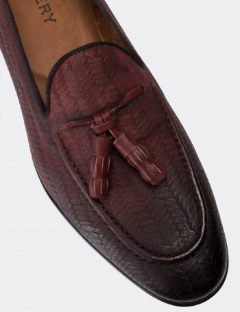 Hakiki Nubuk Bordo Erkek Loafer