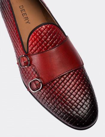 Hakiki Deri Kırmızı Örgü Desen Erkek Loafer