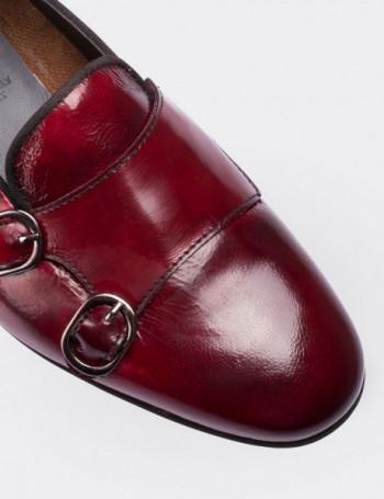 Hakiki Deri Bordo Çift Tokalı Kadın Ayakkabı