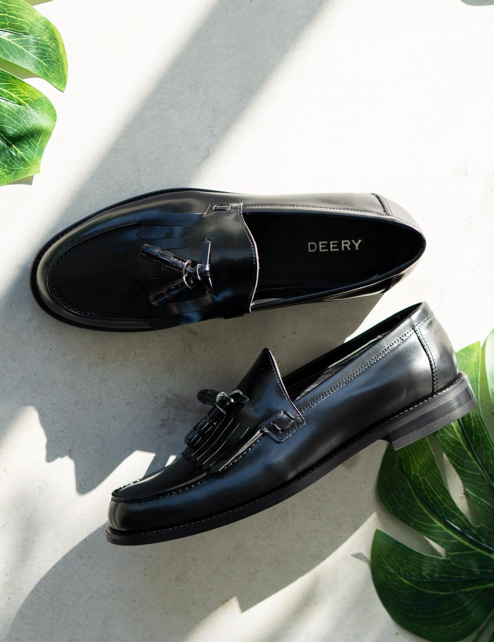 Hakiki Deri Siyah Püsküllü Erkek Loafer - 01735MSYHM01