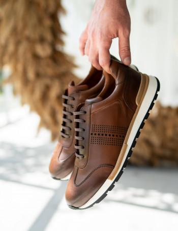 Hakiki Deri Taba Rengi Sneaker Erkek Ayakkabı