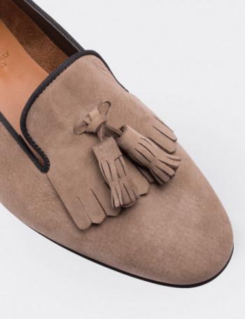 Hakiki Deri Vizon Rengi Püsküllü Kadın Loafer