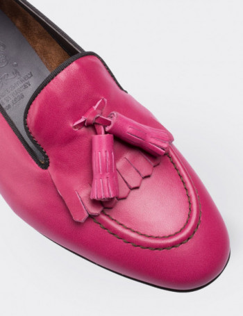 Hakiki Deri Pembe Püsküllü Kadın Loafer