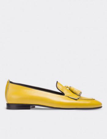 Hakiki Deri Sarı Püsküllü Kadın Loafer