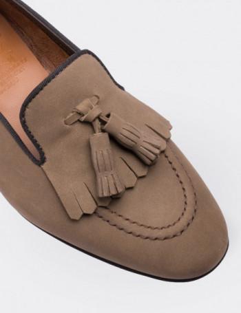 Hakiki Deri Taba Rengi Püsküllü Kadın Loafer