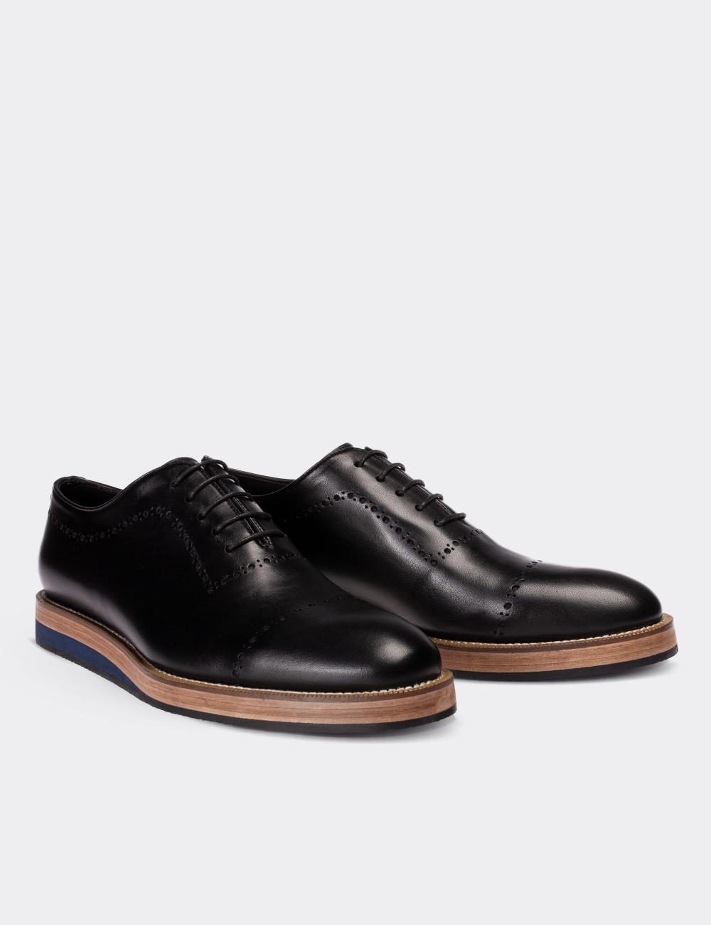 Hakiki Deri Siyah Günlük Erkek Ayakkabı - 00491MSYHE10