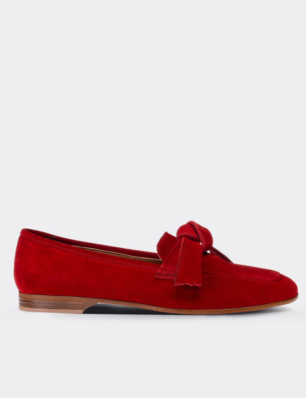 Hakiki Süet Kırmızı Kadın Loafer - 01744ZKRMM01