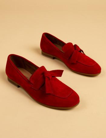 Hakiki Süet Kırmızı Kadın Loafer