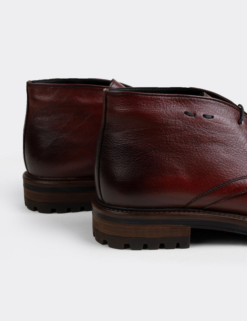 Hakiki Deri Bordo Vintage Erkek Çöl Bot - 01295MBRDC01