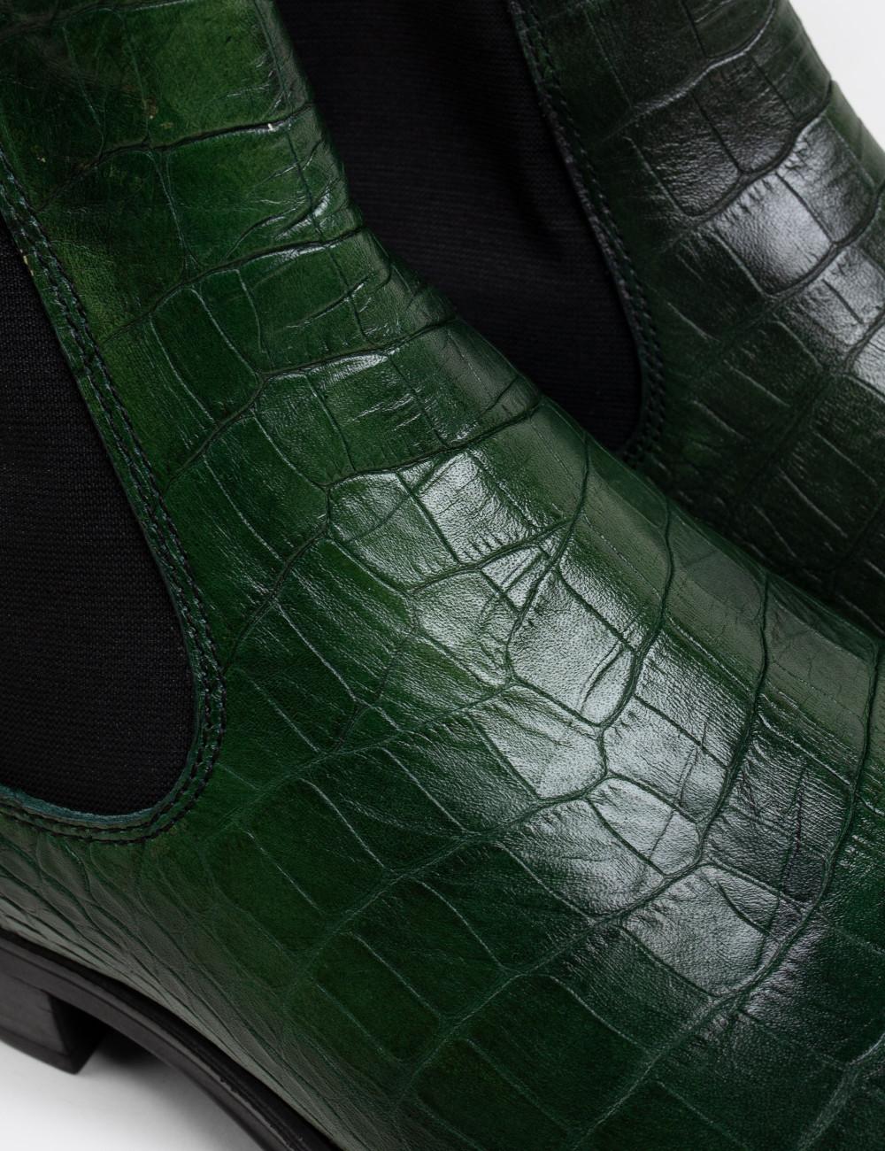 Hakiki Deri Kroko Özel Üretim Yeşil Chelsea Erkek Bot - 01620MYSLC02