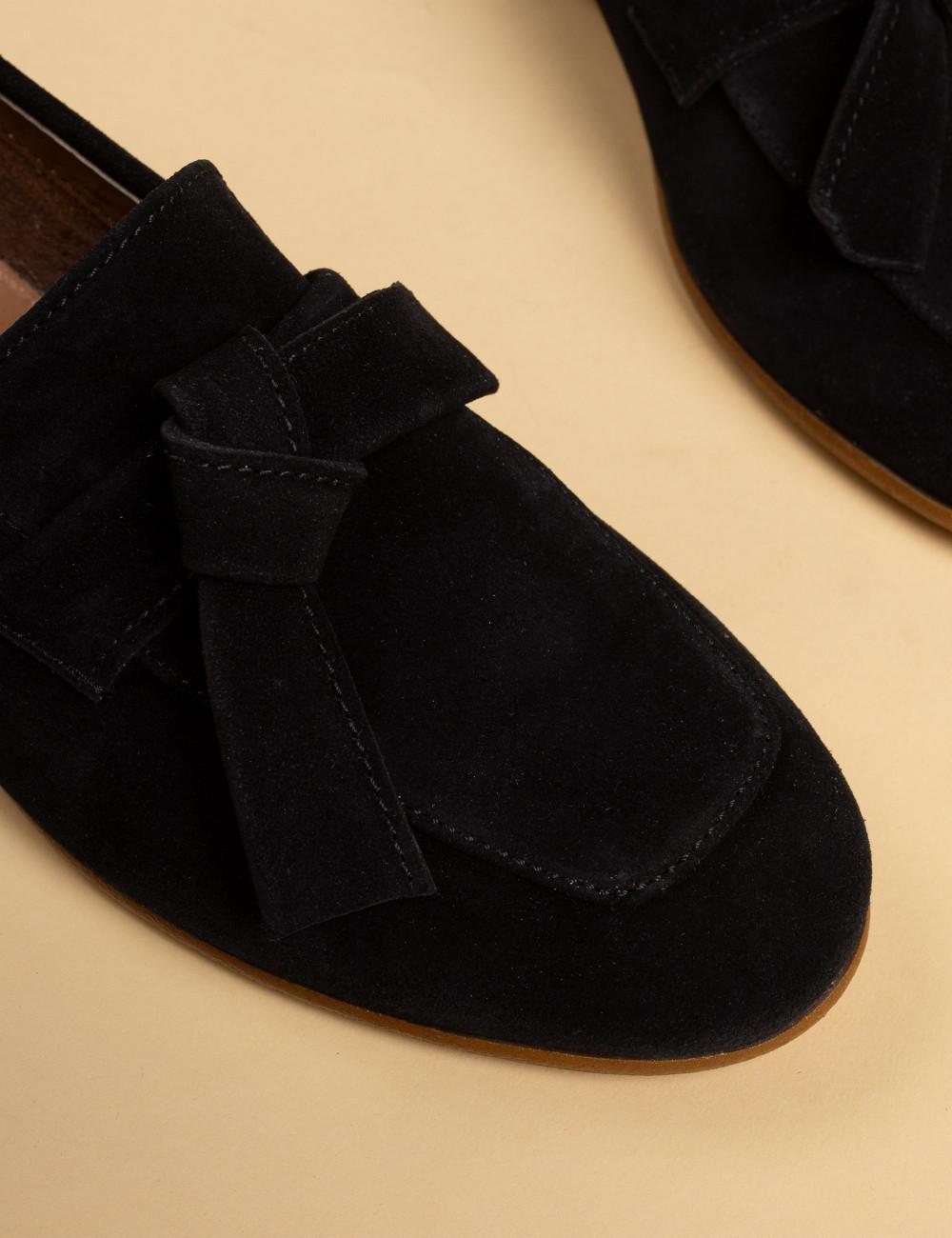 Hakiki Süet Siyah Kadın Loafer - 01744ZSYHM01