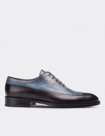 Hakiki Deri Özel Üretim Çift Renkli Mavi Kösele Erkek Ayakkabı