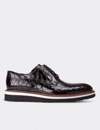 Hakiki Deri Rugan Kroko Desen Bordo Erkek Ayakkabı