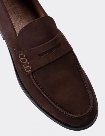 Hakiki Süet Kahverengi Erkek Loafer