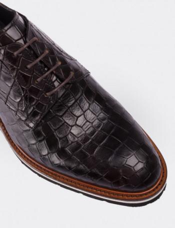 Hakiki Deri Kroko Desen Kahverengi Erkek Ayakkabı