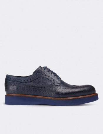 Hakiki Deri Örgü Baskı Lacivert Günlük Erkek Ayakkabı