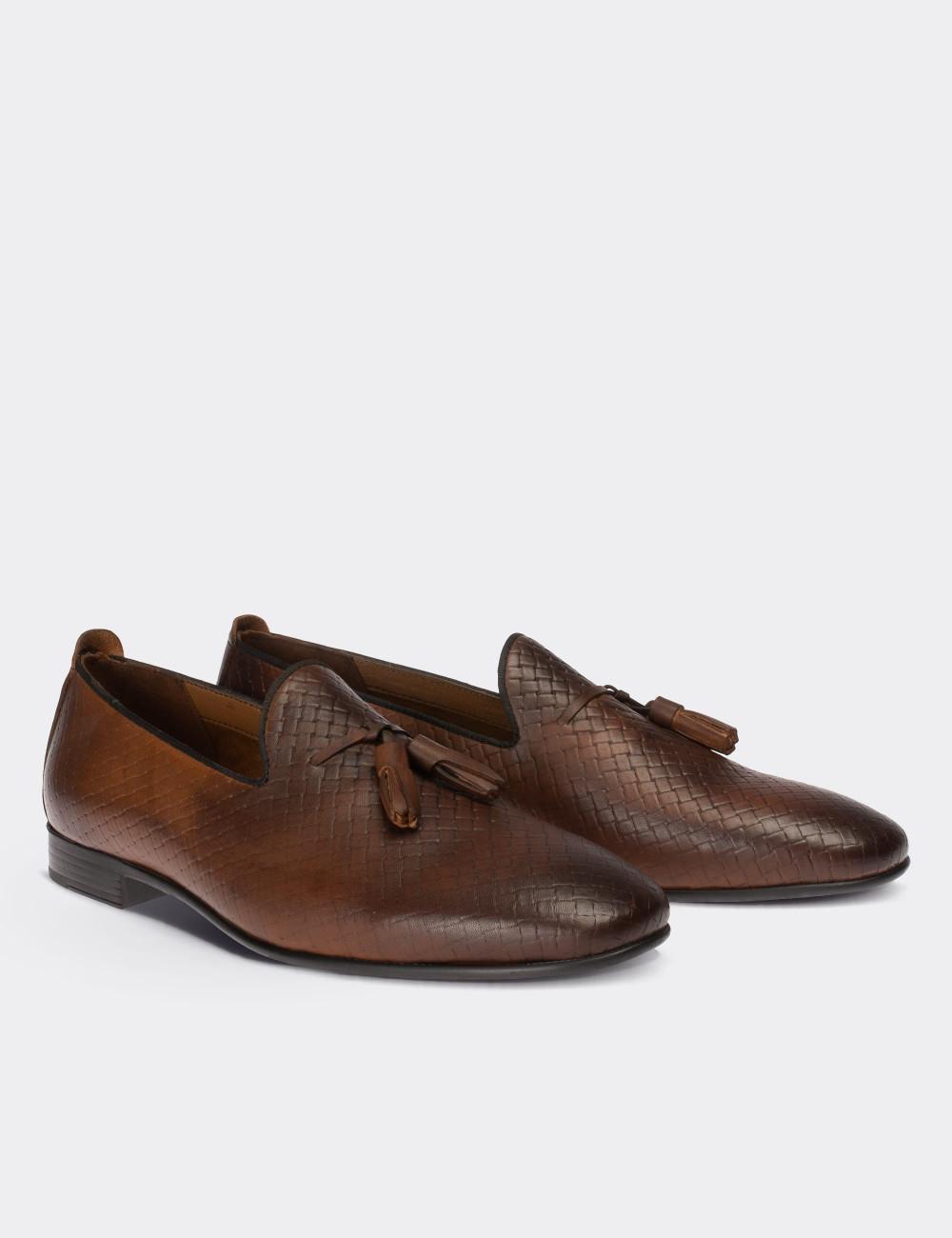 Hakiki Deri Kahverengi Erkek Loafer - 01702MKHVC05