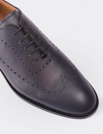 Hakiki Deri Lacivert Kösele Erkek Ayakkabı
