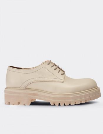 Hakiki Deri Bej Rengi Oxford Kadın Ayakkabı