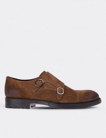 Hakiki Süet Çift Tokalı Taba Rengi Erkek Ayakkabı