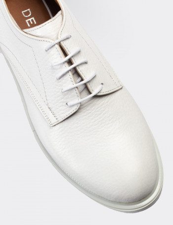 Hakiki Deri Beyaz Günlük Kadın Ayakkabı