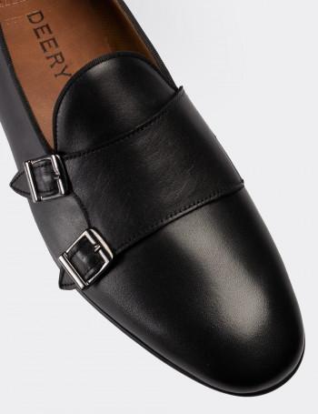 Hakiki Deri Siyah Çift Tokalı Erkek Loafer