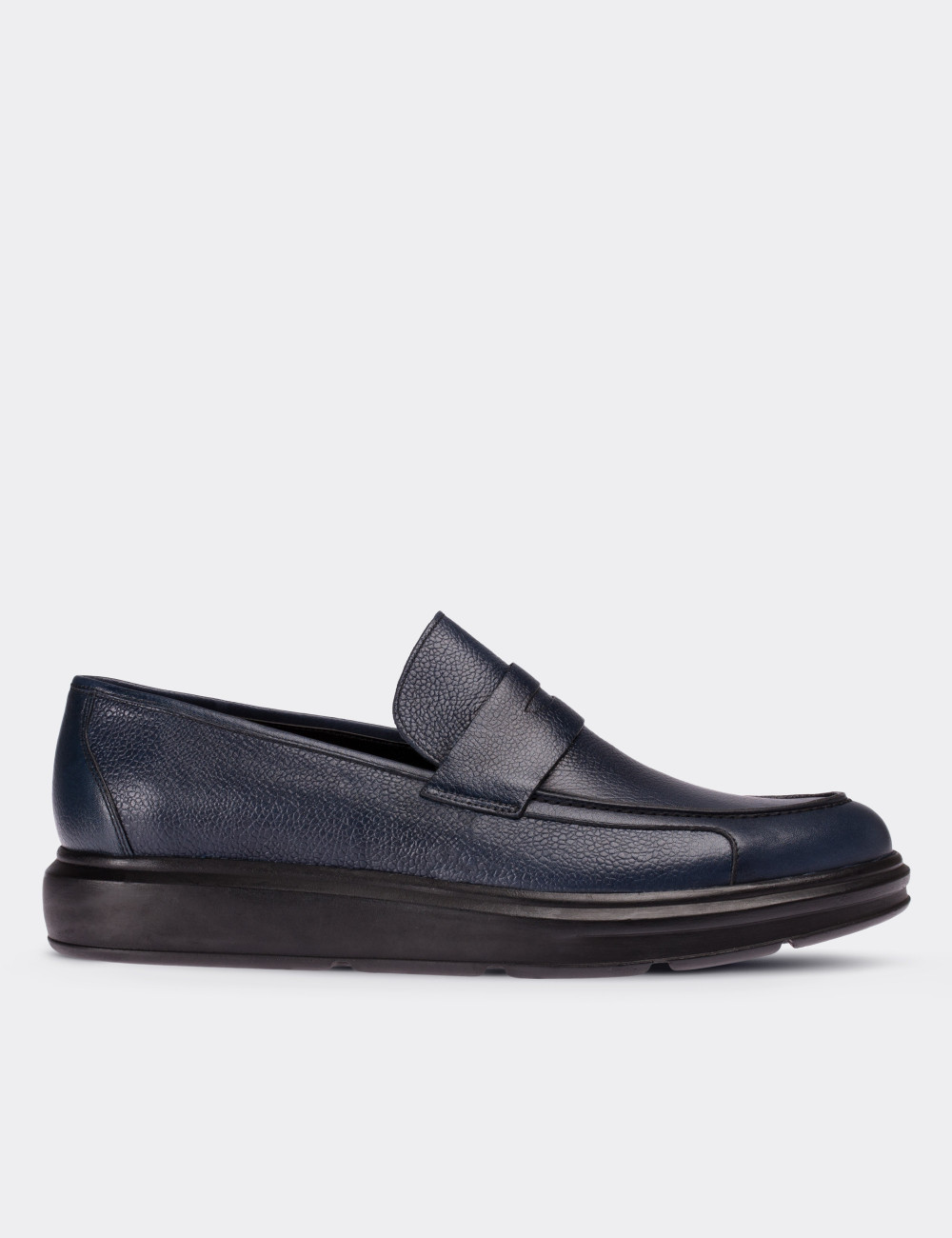 Hakiki Deri Lacivert Comfort Erkek Loafer - 01564MLCVP01