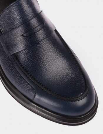 Hakiki Deri Lacivert Comfort Erkek Loafer