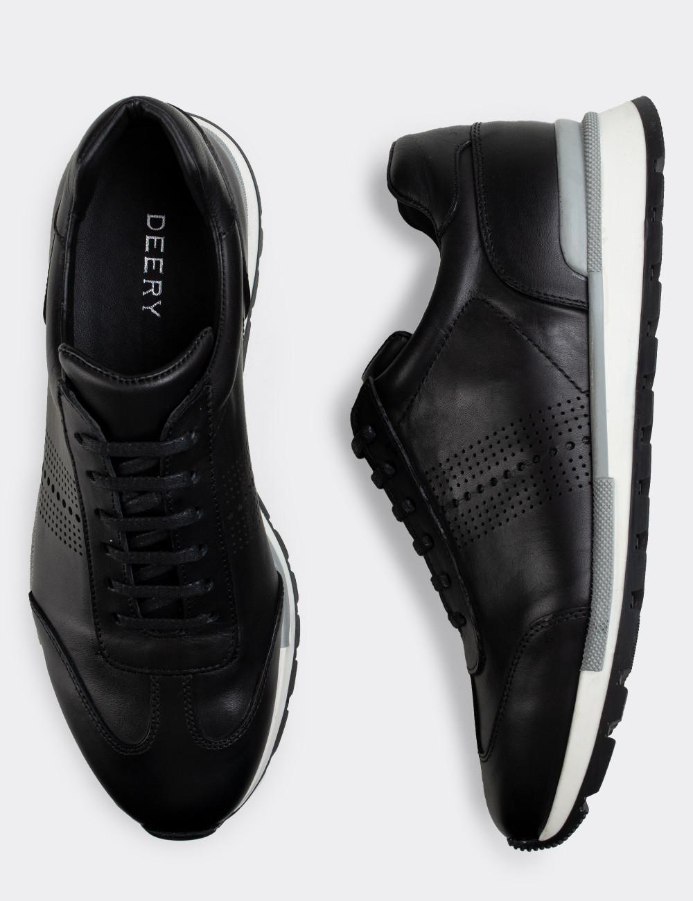 Hakiki Deri Siyah Erkek Sneaker Ayakkabı - 01738MSYHT02