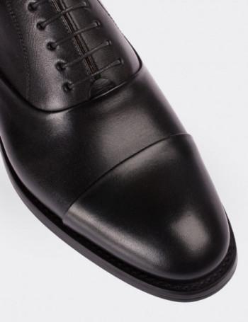 Hakiki Deri Özel Üretim Siyah Kösele Ayakkabı