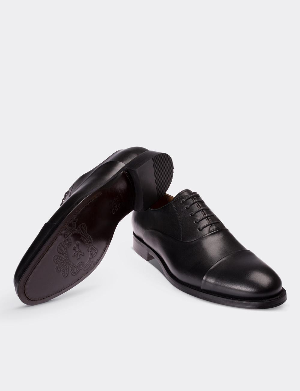 Hakiki Deri Özel Üretim Siyah Kösele Ayakkabı - 64410MSYHK01