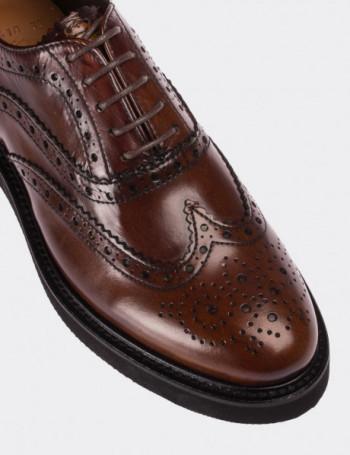 Hakiki Deri Kahverengi Finisajlı Oxford Kadın Ayakkabı