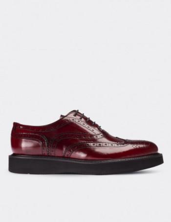 Hakiki Deri Koyu Kırmızı Finisajlı Oxford Kadın Ayakkabı