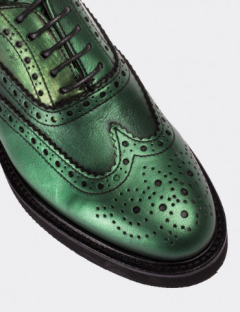 Hakiki Deri Yeşil Finisajlı Oxford Kadın Ayakkabı