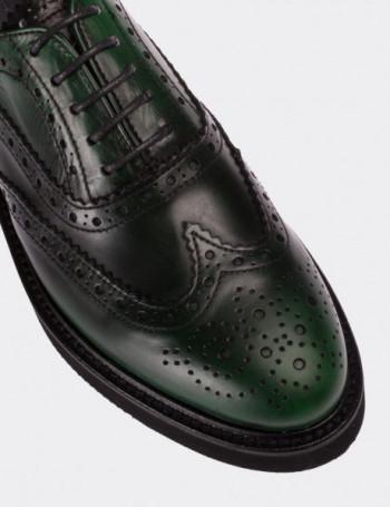 Hakiki Deri Koyu Yeşil Finisajlı Oxford Kadın Ayakkabı