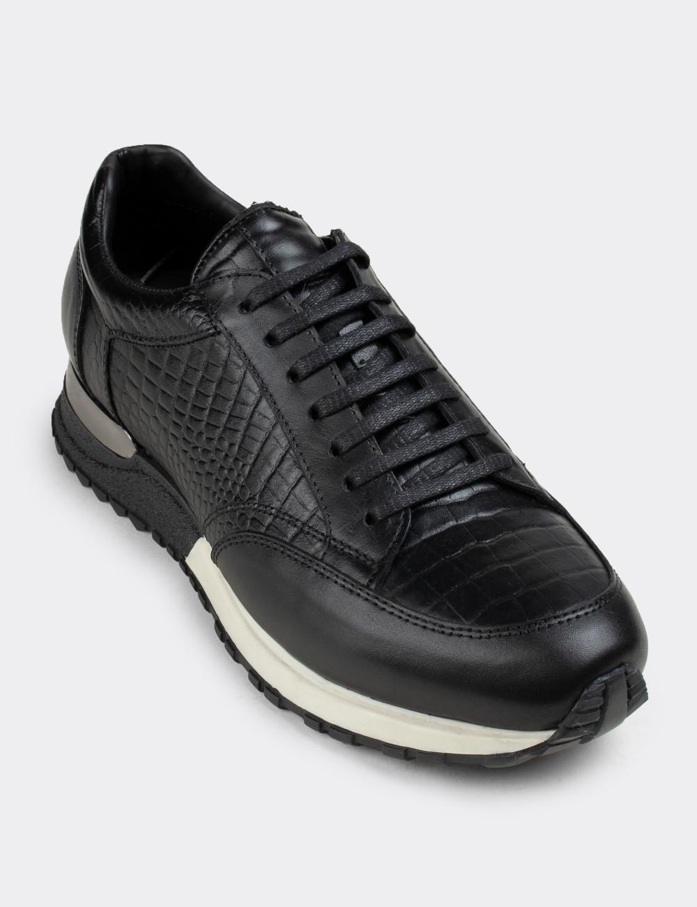 Hakiki Deri Siyah Spor Erkek Ayakkabı - 01632MSYHT02