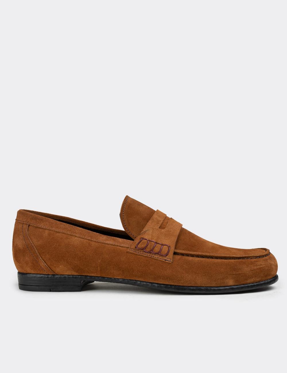 Hakiki Süet Tarçın Rengi Loafer Erkek Ayakkabı - 01538MTRNC01