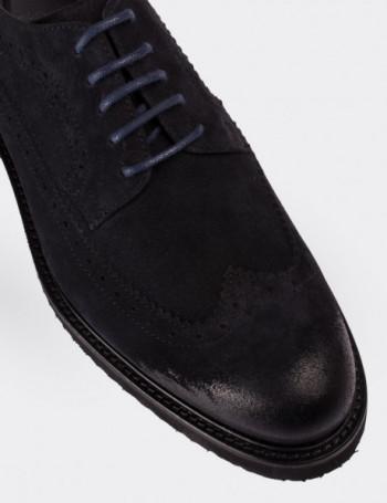 Hakiki Süet Deri Lacivert Finisajlı Erkek Ayakkabı