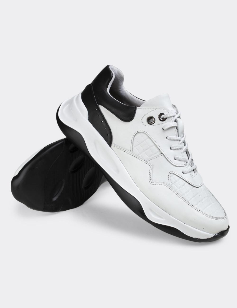 Hakiki Deri Beyaz Sneaker Erkek Ayakkabı - 01818MBYZE01