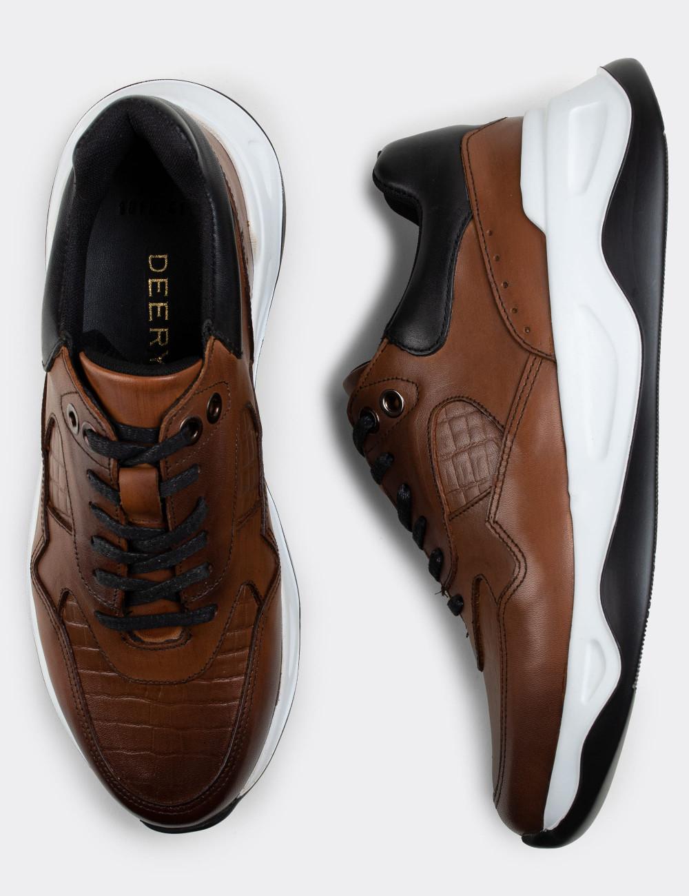 Hakiki Deri Taba Rengi Sneaker Erkek Ayakkabı - 01818MTBAE01